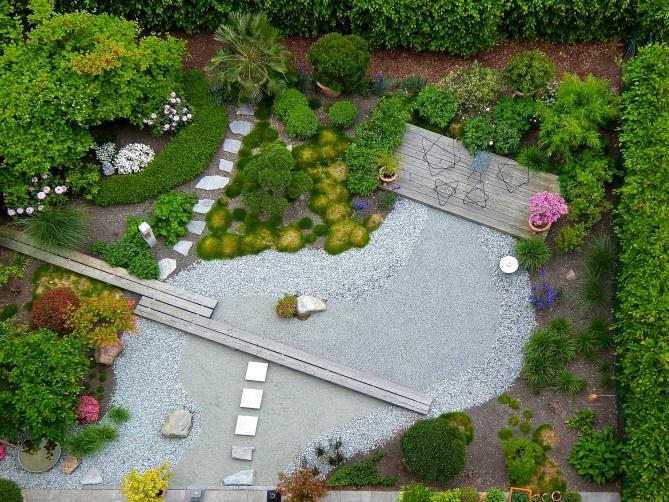 Einen hoch modernen Garten wie diesen, pflegt man in erster Linie mit Kleinstgeräten und mit viel Akribie und Liebe zum Detail. pixabay.com © MALCOLUMBUS (CC0 Public Domain)